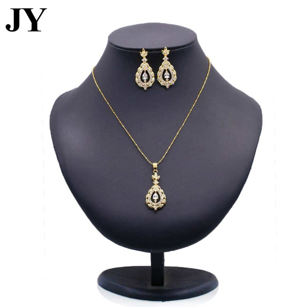 JY fashion gold round crystal jewelry set ladies elegant charm necklace party earrings women's best love gift 2018 new arrival