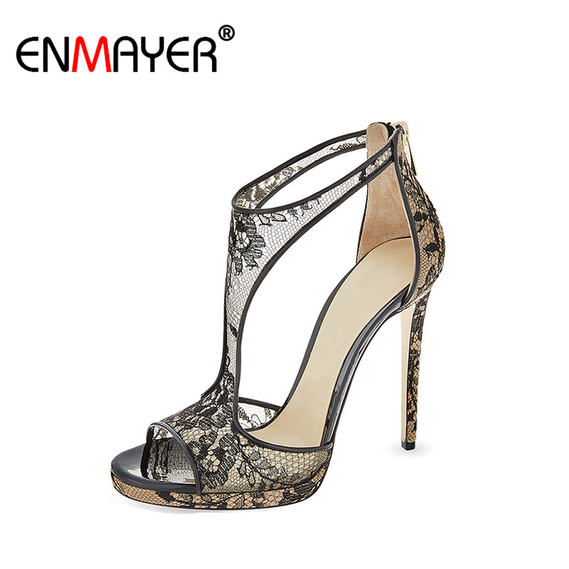 ENMAYER Sexy Lace Extreme High Heels Open Toe Basic Zip Genuine Leather Party Shoes Hot Fashion Summer Women Pumps for Wedding enmayer extreme high heels flock round toe buckle platform black shoes sandals hot fashion summer women pumps for party wedding