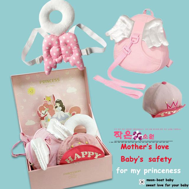 Chapéu 2017New 3 Peças Conjuntos de Bebê Mochila Anti-Lost & Almofada proteção para a Cabeça Do Bebê Rosa Azul Moda Príncipe & Dom Conjuntos Princeness