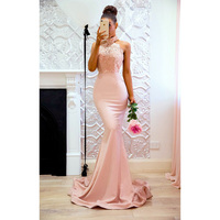 Ordifree 2019 Summer Women Long Party Dress Pink Sexy Bodycon Backless Maxi Night Lace Dress