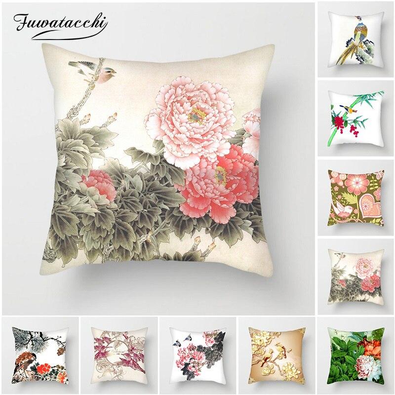 Fuwatacchi Pássaros e Flores Pintura Peônia Travesseiro Cobre Capas de almofadas para o Sofá de Casa Cadeira Decorações Lamei Fronha Coração 45*45