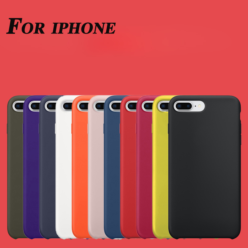 Original with logo Official for apple silicone case for iPhone X 7 8 i6s Plus funda Cover Bag coque luxury case