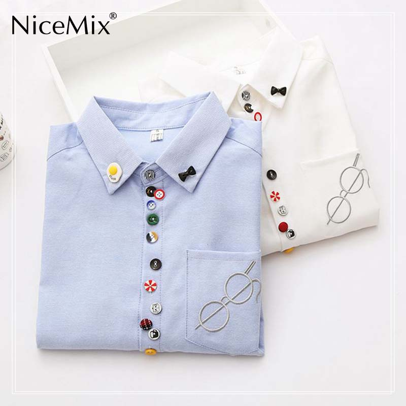 NiceMix 2019 Womens Tops And Blouses Kawaii Embroidery Tops Blusa Cartoon Button Patch Long Sleeve Cotton Shirt Women in Blouses amp Shirts from Women 39 s Clothing