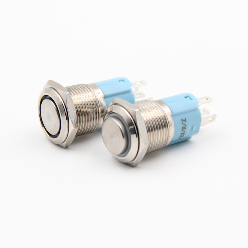 1PCS YT1071  16 mm Metal Push Button Switch Automatic Locking Switch With 5 Colors LED  12V     Convexity