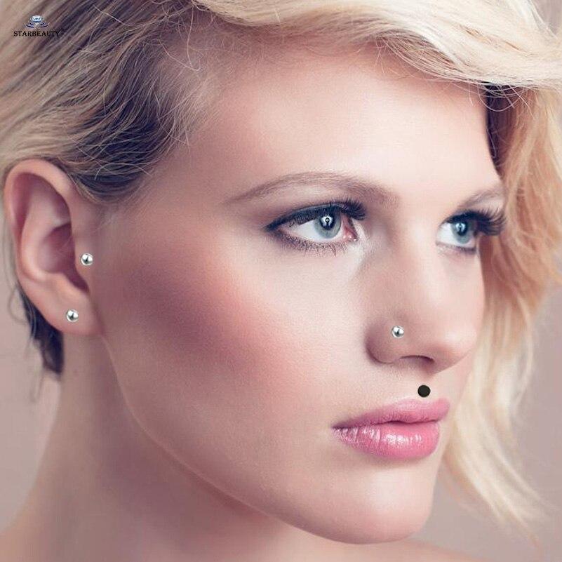 2 Pcs Lot 18g 1 0x7mm L Shaped Nose Piercing Labret Helix Earring