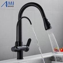 Messing Keukenkraan Pull Out Mixer Swivel Drinkwater 3 Way Water Filter Purifier Keuken Kranen Voor Gootstenen Kranen 9139SE