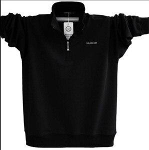 رجل طويل كم Poloshirt العلامة التجارية عالية الجودة زائد حجم الوقوف طوق القطن قمصان الرجال سستة Camisa بولو الغمد A1108
