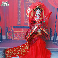 31cm Han Dynasty Bride Doll Action Toy Figures 12 Jointed Handmade Chinese Ancient Costume Bjd Dolls