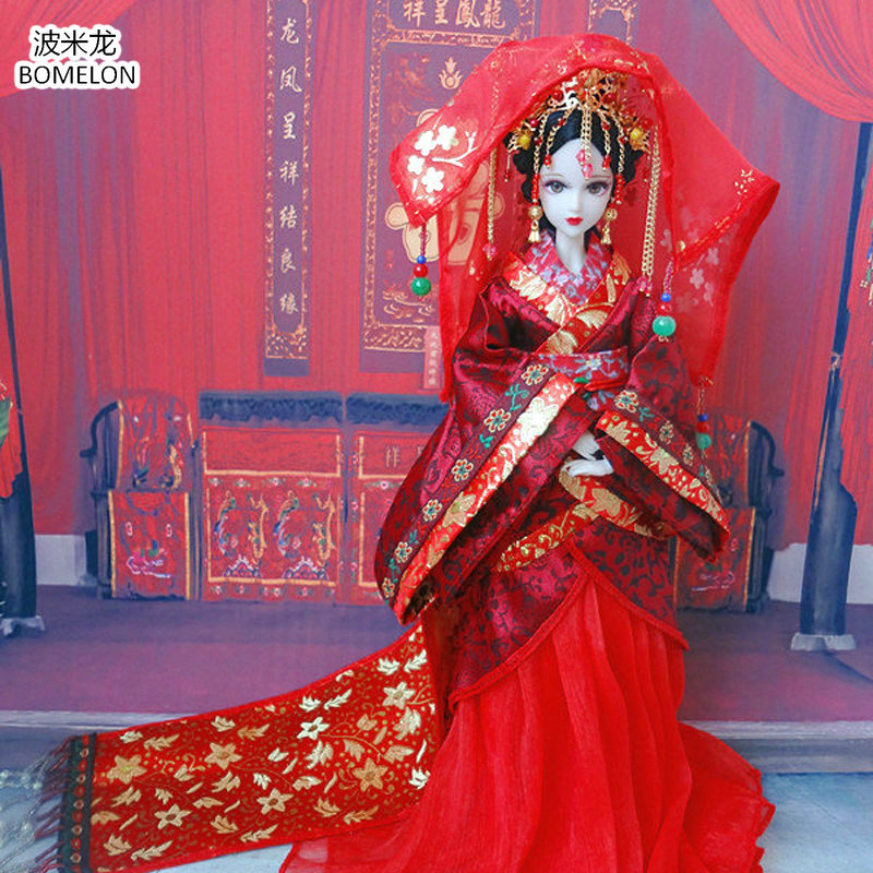 31cm Han Dynasty Bride Doll Action Toy Figures 12 Jointed Handmade Chinese Ancient Costume Bjd Dolls Girls Christmas Gift handmade ancient chinese dolls 1 6 bjd jointed doll empress zhao feiyan dolls girl toys birthday gifts