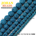 Peacock blue Lava Natural Stone beads Volcanic rock Top quality Round Loose bead 4/6/8/10/12MM beads for jewelry making bracelet