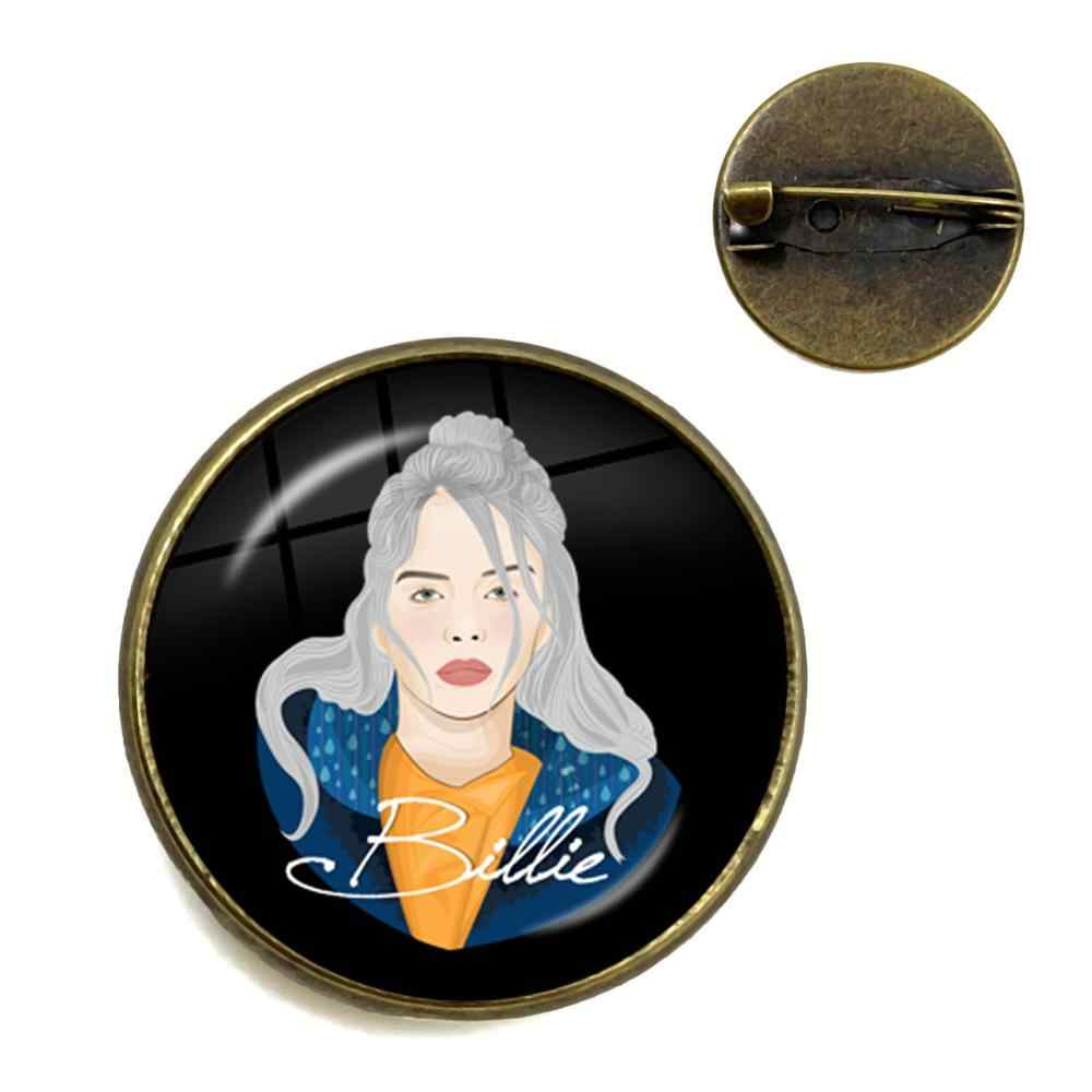 Hip-hop Music Brooch Billie Eilish Art Picture Glass Cabochon Collar Pin Jewelry For Music Fans Gift