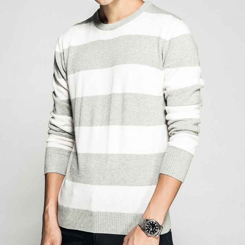 2018 Kassidy s Autumn Winter Clothing Round Neck Men Knitted Sweater Thick Stripes Slim Fit Pullover