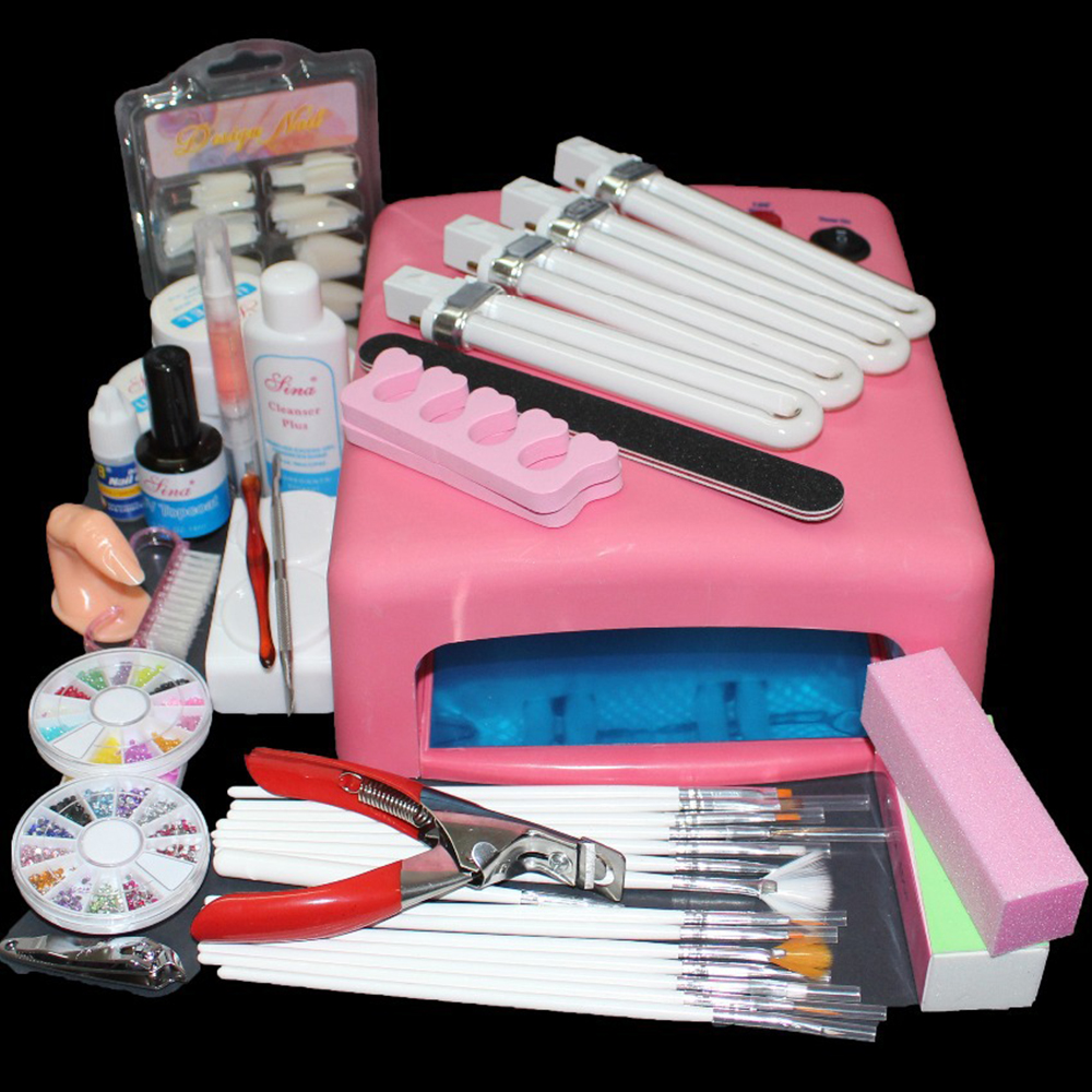 ATT-81 Pro 36W UV GEL Curing Bulb Lamp 15 Brush Pen File Nail Art ToolS Kits,nail art uv gel kit at free shipping att 138 pro nail polish eu us plug 9w uv lamp gel cure glue dryer 54 powder brush set kit at free shipping