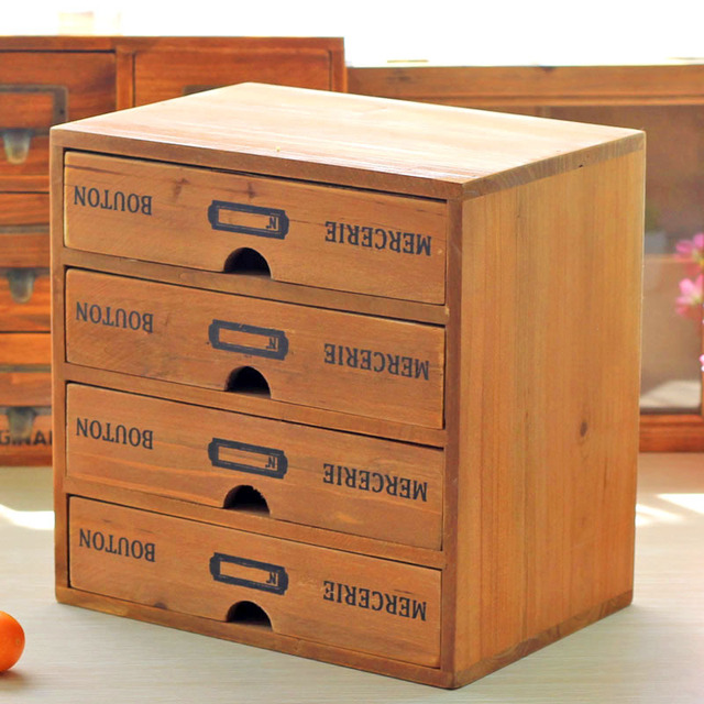 Genial ZAKKA Vintage Real Wooden Storage Box With 4 Drawer Imitate Antique  Creative Furniture Storage Cabinet Jewelry