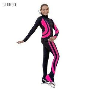 Image 4 - 4色衣装カスタマイズアイススケートフィギュアスケートスーツジャケットとパンツローリング暖かいフリース成人した子供女の子ズボンl