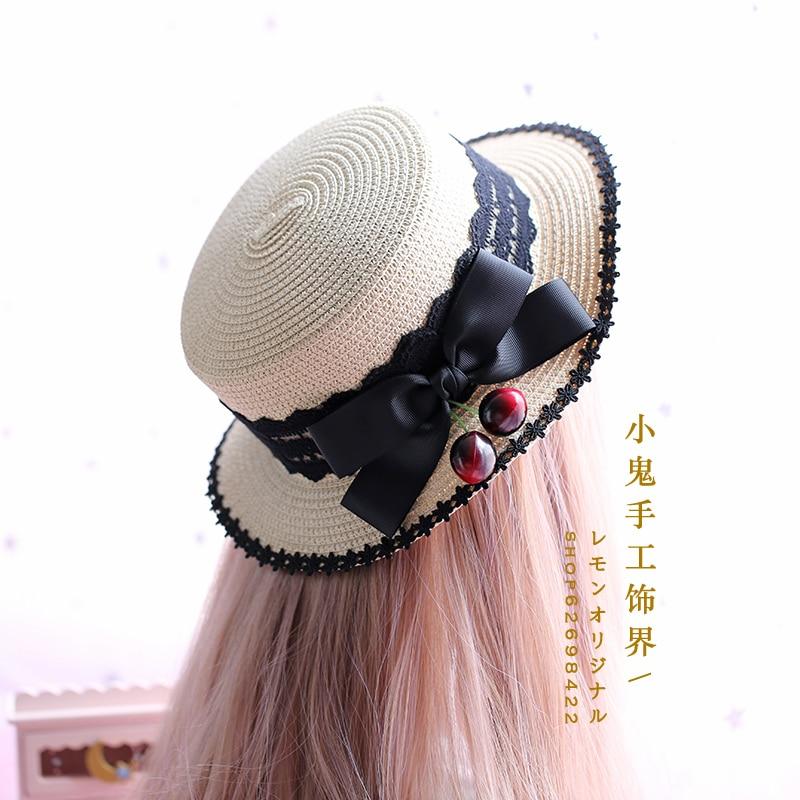 Straw hat female summer Korean version black lace daily wild big bow cherry Lolita straw hat straw hat фото