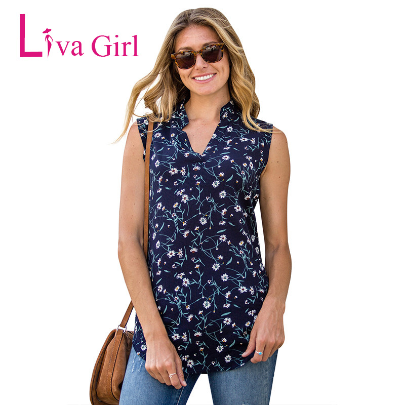 Liva Girl Chiffon Top Shirt Women Blouse Casual Sleeveless Tunic V Neck Summer Loose Tops Shirts Womens Tops and Blouses Kimono