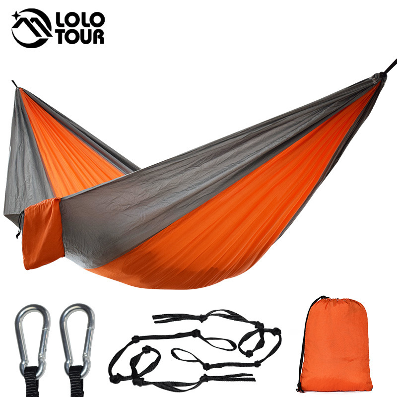 Single&Double Camping Hammock With Hammock Tree Straps Portable Parachute Nylon Hammock For Backpacking Travel Lightweight(China)