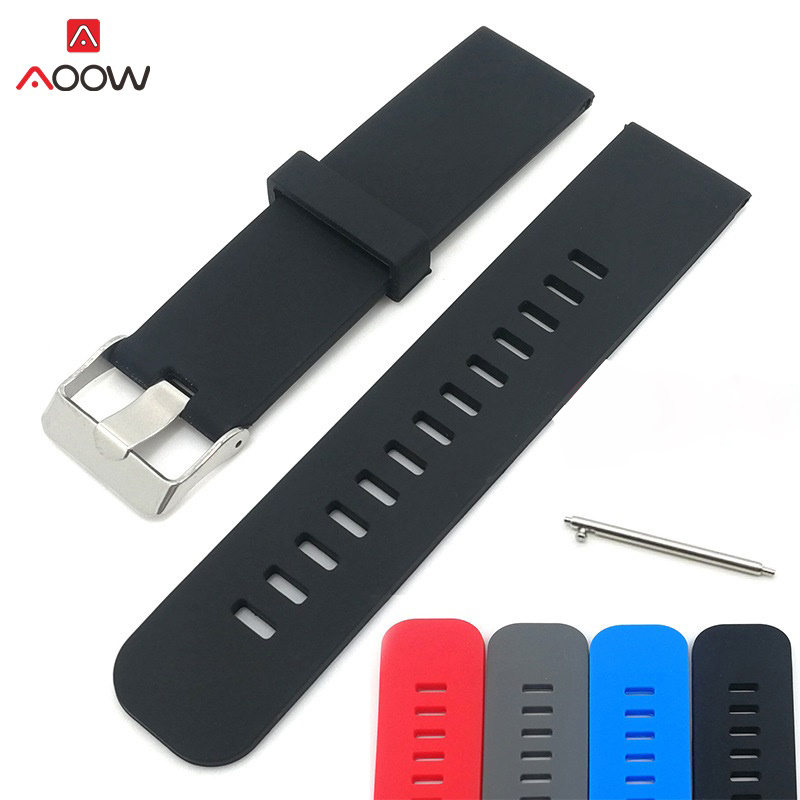 AOOW Watch Accessories 22 24mm Sports Watch Band Silicone Strap Fitness For Samsung Huawei Moto Smart Watchband Wristband jansin 22mm watchband for garmin fenix 5 easy fit silicone replacement band sports silicone wristband for forerunner 935 gps