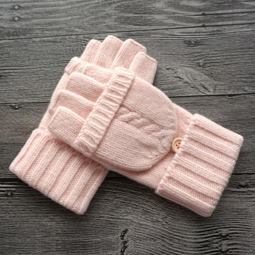 Mode Femmes Mitaines Femelle Laine D'hiver En Plein Air Conduite Mitaine Tricoté Épais Chaud Flip Demi Doigt Gants pour Entraînement