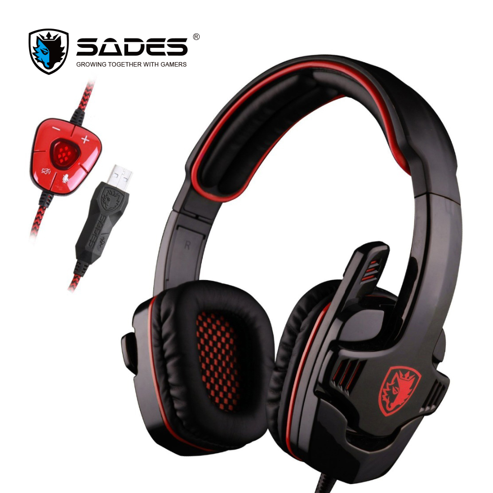 SADES SA901 Game Headphone Virtual 7.1 USB Gaming Headset Earphone with Microphone Noise Canceling for PC Gamer Blue/ Red wholesale hot 2015 free shipping sades 901 game headphone 7 1 surround usb gaming headset earphone with microphone for pc gamer