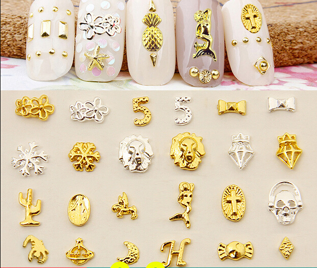 24 Styles Nail Accessories Diamond Mermaid Snowflakes Candy Diy Nail Polish Metal Decorative Sticker 40PCSLOT