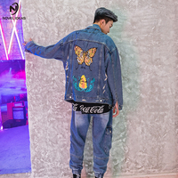 Novel ideas Colorful Butterfly Embroidery Jean Jackets Patch Designs Men Casual Denim Jacket Japan Style Denim Jacket US Size