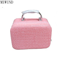 Hot 2017 Small Alligator Cosmetic Cases Cute Flower Lady Makeup Bag Women Box PU Leather Make