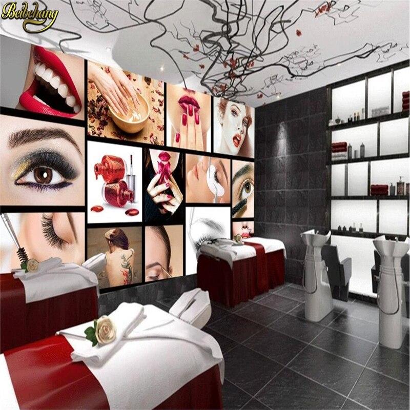Beibehang Custom Photo Wallpaper European And American Fashion Beauty Salon Semi - Permanent Eyebrows Lip Nail Background Murals