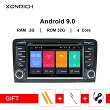 Xonrich автомобильный мультимедийный плеер 2 Din Android 9,0 gps головное устройство для Audi A3 8 P/A3 8P1 3-дверей/S3 RS3 Sportback DVD Радио
