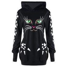 2012f8787a6f8 (Ship from US) ISHOWTIENDA Hoodies Women 2018 Sweatshirt Cat Print With  Ears Plus Size Casual Pullover Female Sweatshirts Moletom Feminino