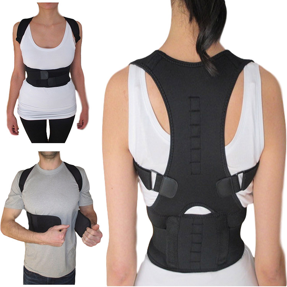 Women Men Orthopedic Back Lumbar Support Belt Posture Brace Corrector Posture 10 Magnet Magnetic Posture Shoulder Belt Plus Size