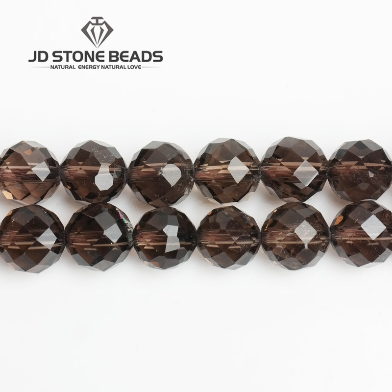 JD Stone Beads Free Shipping Natural Faceted Smoky Quartz With 64 Cutting Semi-Finished Handmade Bracelet Beads Accessory