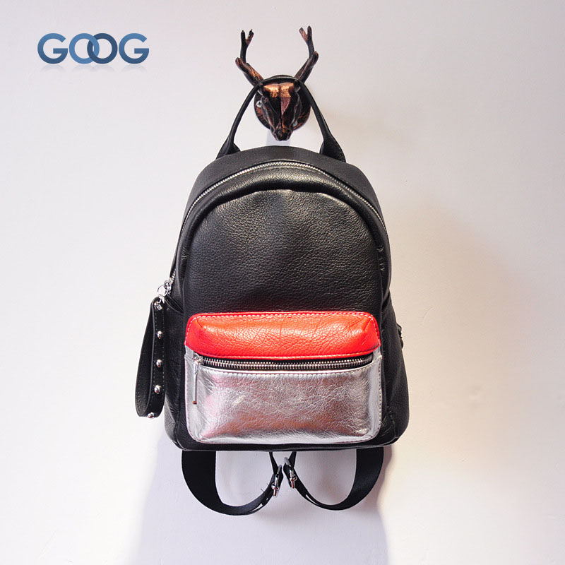 Korean version of the new first layer of leather travel backpack fight color fashion casual leather  wave tide personali the other side of the road new extended version cd