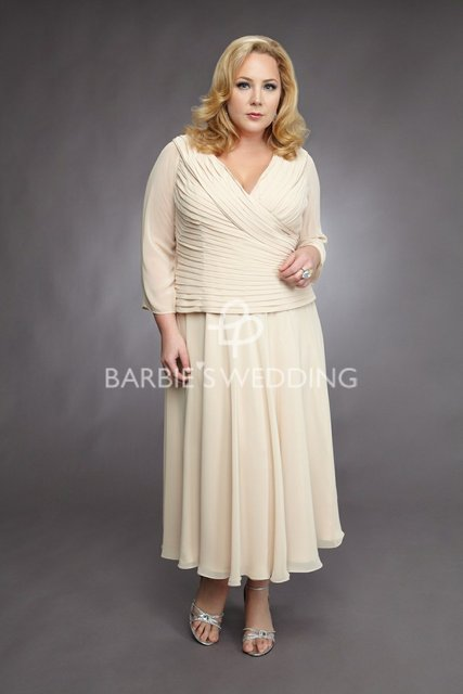 Free Shipping Chiffon V-neck A-line with Drapes and Sleeves Tea Length Plus  Size Mother of the Bride Dress d6b7ac0f5519