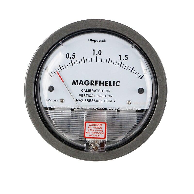 0-2KPA Micro Differential Pressure Gauge TE2000 High Precision 1/8 NPT Air Pressure Meter Barometer