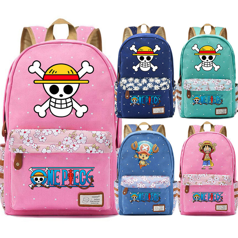 Cartoon Comics Anime Skull One Piece Flowers Dot Boy Girl School bag Women Bagpack Teenagers Schoolbags Canvas Femme Backpack 9 image