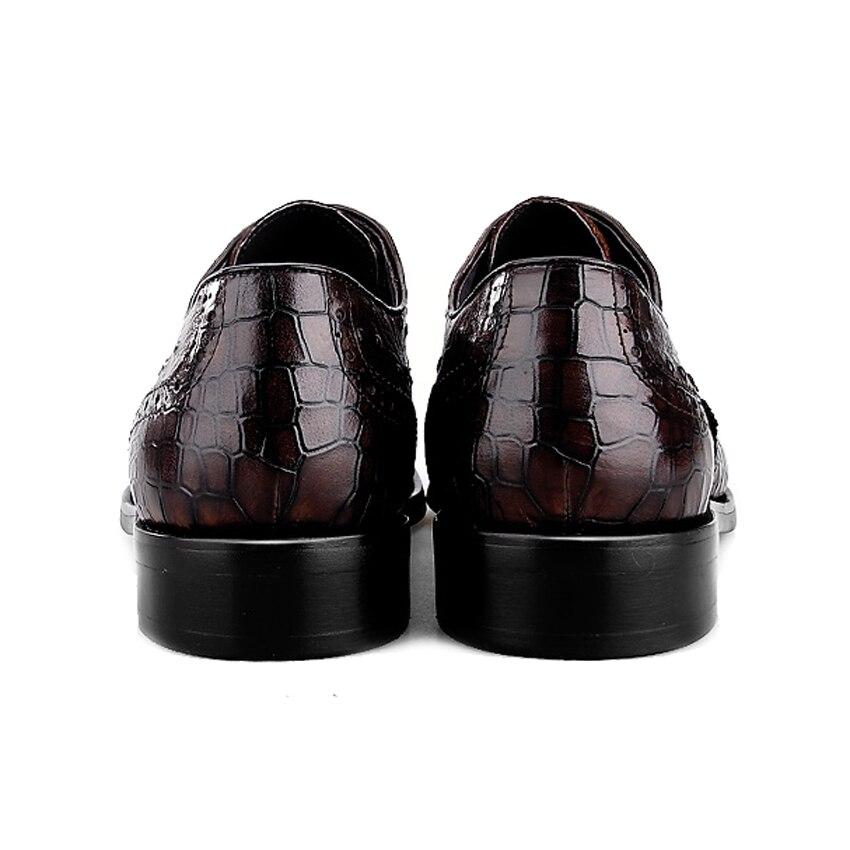 Formelles Patter Bout Cuir Britannique Vintage Chaussures Rond Hommes De Homme Robe Alligator Oxford marron Appartements Noir Véritable Mariage Richelieu Bql28 qY8w1