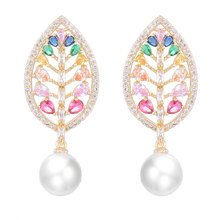SisCathy Trendy Multicolor Leaves Cubic Zirconia Pearl Earrings For Women Engagement Wedding Party Statement Stud