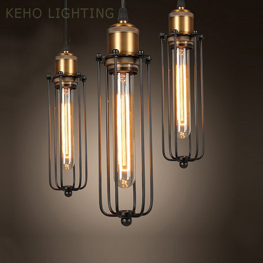 110 240v loft lamp vintage pendant light edison balck iron metal cage pendant light lampshade cage pendant lighting