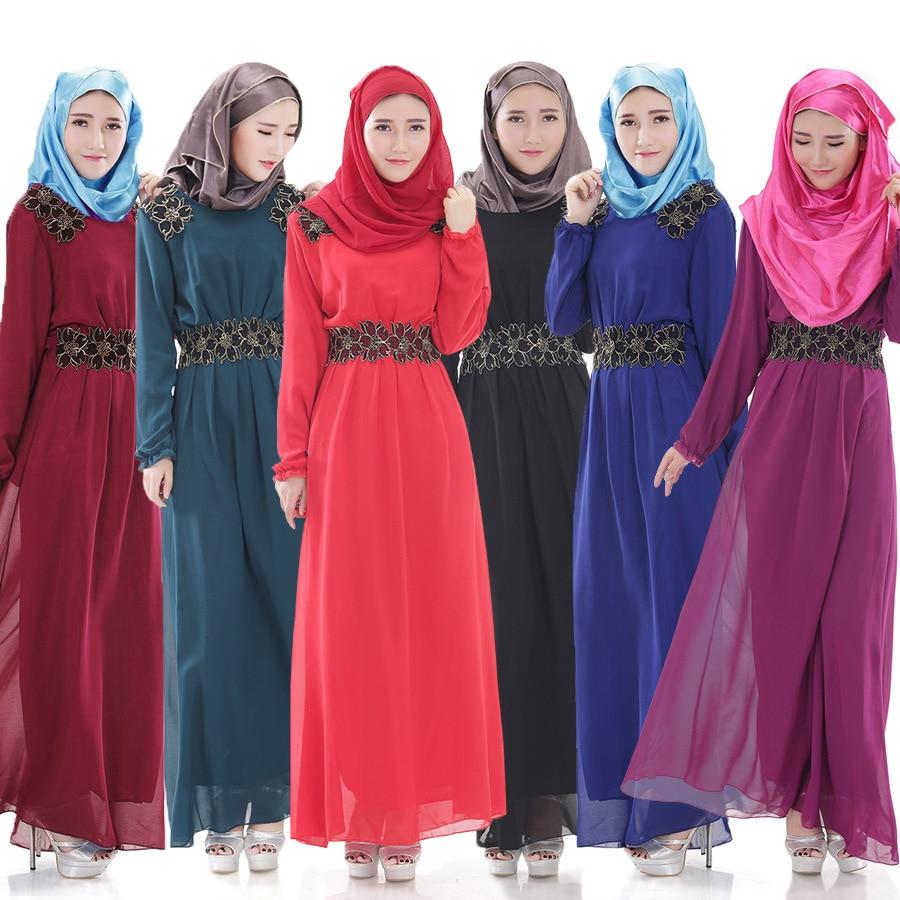 2016 New Muslim Clothing Islamic Chiffon Long Dress Slim Waist Long Sleeve Robes Malaysia