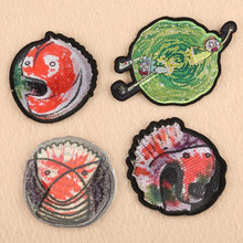 The Animal Fish Print Patches Iron On Embroidered Patch For Clothing Sticker Badge Paste Clothes Bag Pants