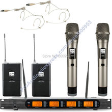 MICWL Audio Classic UHF 4x100 Channel Digital Wireless Karaoke Sound Microphone Mic System 2 Beige Headset Handheld Mike