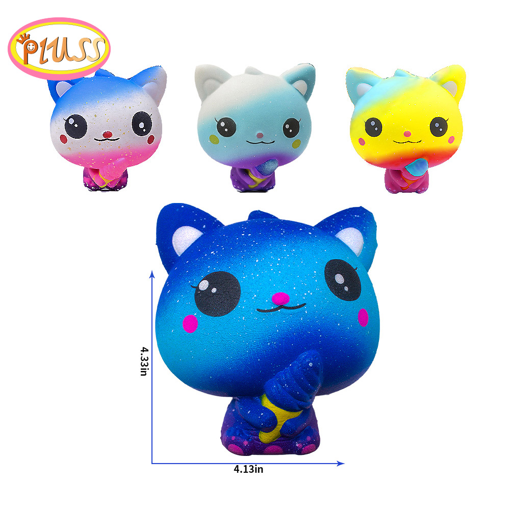 New Galaxy Ice Cream Cat Kitty Squishy Slow Rising Simulation Squeeze Decompression Kawaii Unicorn Squish Toy Stress Reliever
