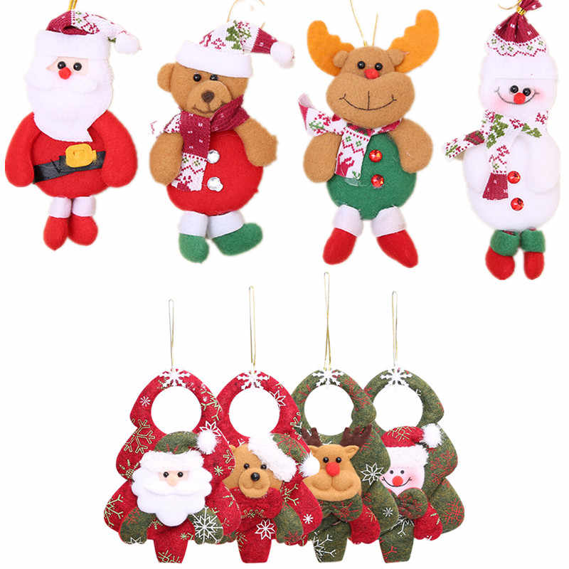 Christmas Tree Toys Decoration.1pc Christmas Santa Claus Snowman Elk Doll Toy Christmas Tree Hanging Ornaments Decoration For Home Xmas Party New Year Gift