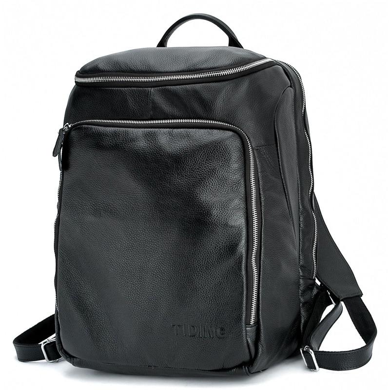 TIDING Large Casual Backpack for Travel School Bookbag Soft Leather Laptop Shoulder Bag 3065 tiding cool cowhide leather laptop backpack day pack activity travel weekender overnight bag 30813