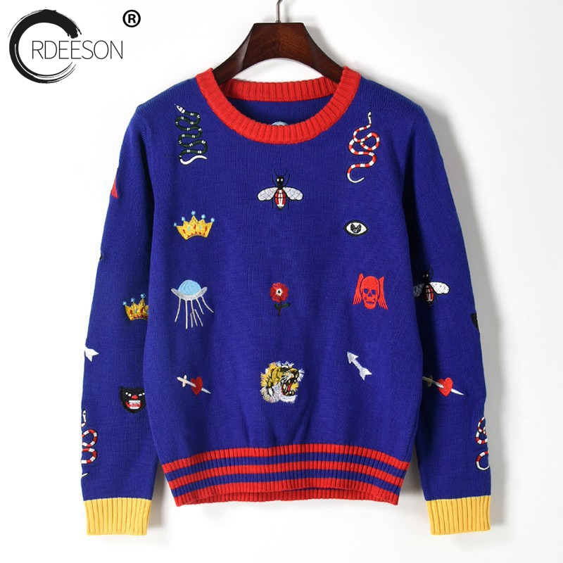 ORDEESON Tiger Head Embroidery winter round neck Brand Jumper Knitted Sweater Pull Femme Women Sweaters and Pullovers Runaway