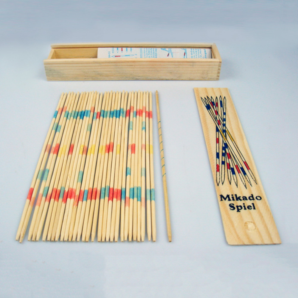 Hot! Baby Educational Wooden Traditional Mikado Spiel Pick Up Sticks With Box Game New Sale