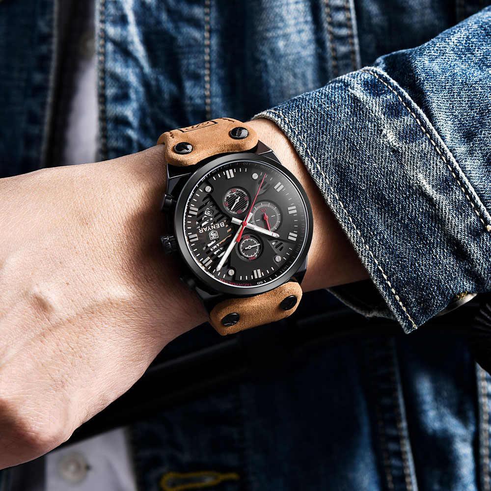 BENYAR męskie zegarki Top marka luksusowe wodoodporne 30 M oryginalne skórzane sportowe wojskowe zegarki kwarcowe 2019 GEJIAN Relogio Masculino