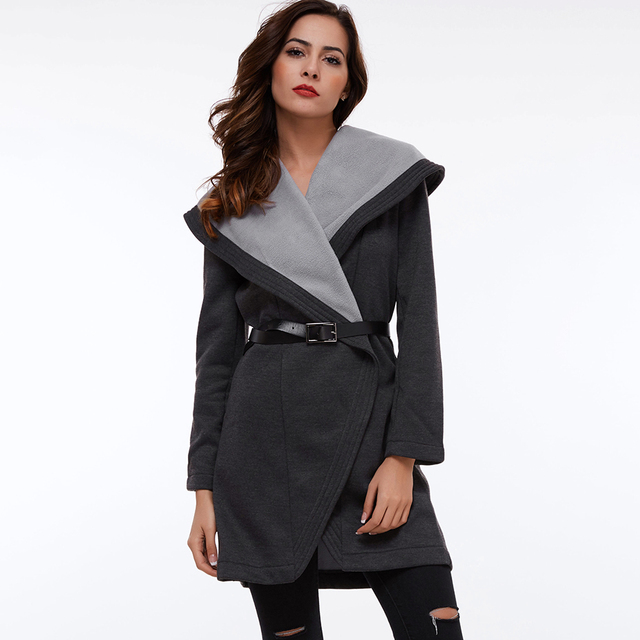 Clocolor Casual Long Coat Fashion Turn Down Collar Asymmetrical Office Ladies Elegant Winter Clothing Outwear Women Overcoat 2